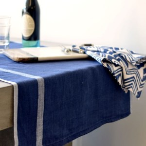 Laundered Linen Table Runner, Indigo/White