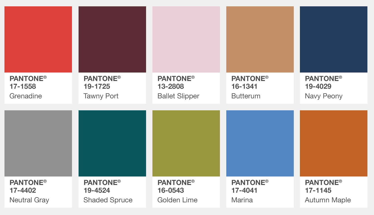 2017 Pantone Fall Fashion Colors, Pantone Color Palette Swatches Fall 2017, New York