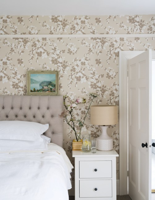 nightstand, floral wallpaper