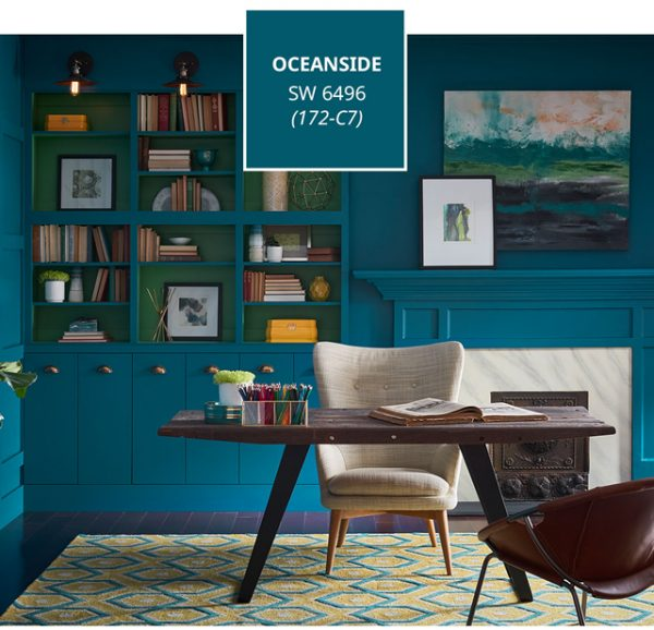 teal, home decorating blog Spring 2018, 2018 paint colors, Sherwin-Williams Color of the Year 2018 Oceanside SW6496