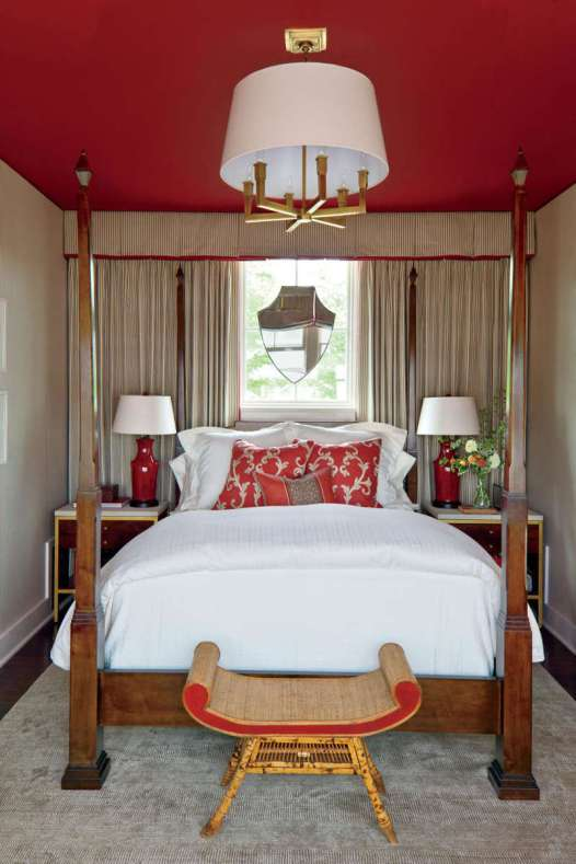 red and gray, gold and brass home decor