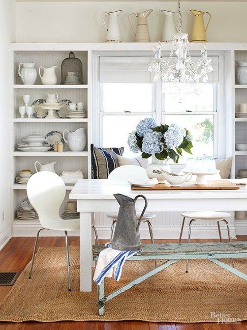 kitchen, farmhouse style, wood & white, built-in bookcase