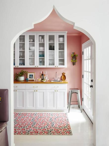 stylish storage, pink paint
