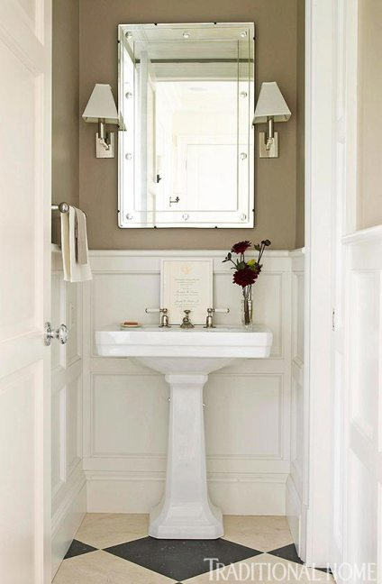 powder room, khaki & white