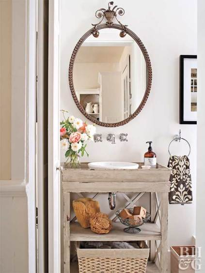 powder room, reclaimed wood vanity