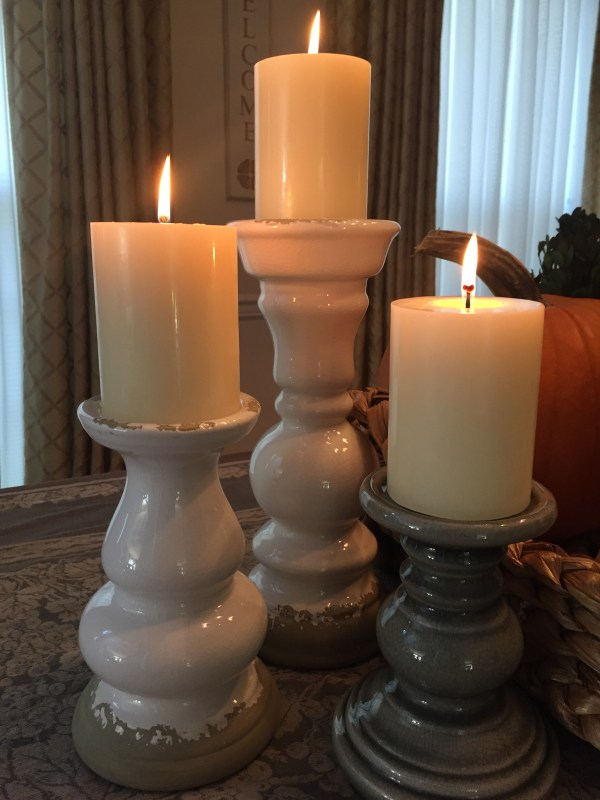 Pillar Candle Holders, White Distressed, Grey Crackle