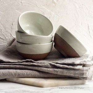 Terracotta & White Ceramic Bowl, Small
