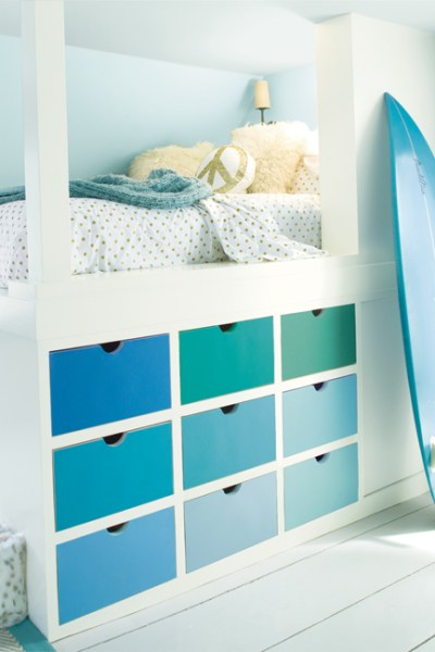 kids bedroom, kids storage, Benjamin Moore Paint Colors, Bird's Egg 2051-60, Iceberg 2122-50, Ice Mist OC-67