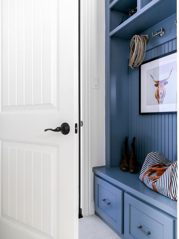 HGTV Smart Home 2019, Mudroom, built-in storage, Sherwin-Williams