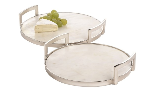 Owen Marble Round Tray with Aluminum Handles