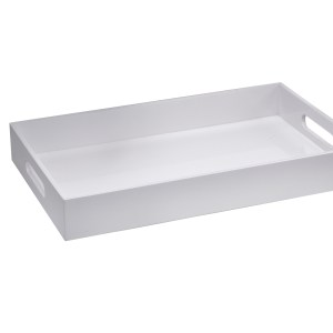 Levi White Rectangular Lacquer Tray, Small