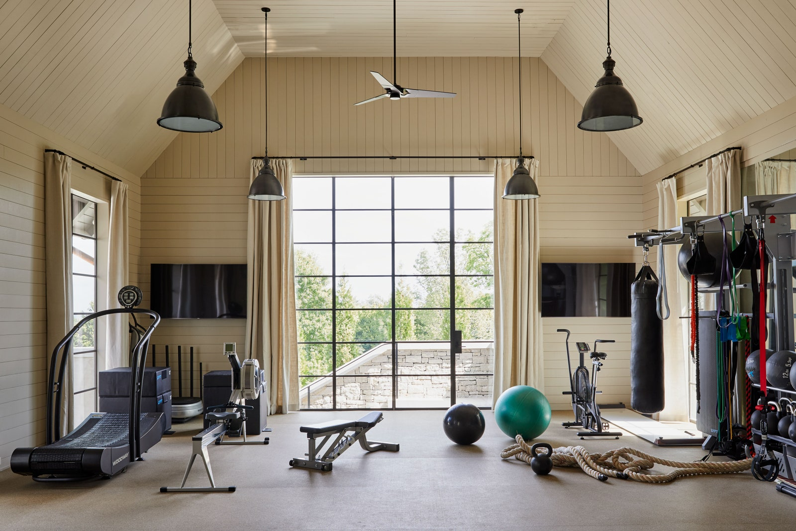Home Gym, Shiplap walls, Farrow & Ball Drop Cloth, Neutral Paint Color, Draperies