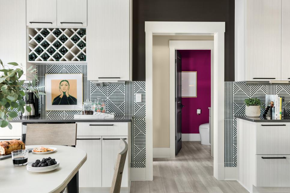 Powder Room View from Kitchen, HGTV SM 2020, Framboise HGSW1021, Pink Paint Color