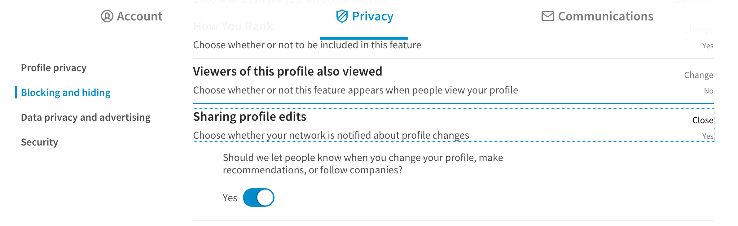 Settings for LinkedIn