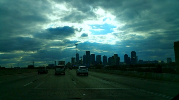 This was our view as we drove into Dallas, Texas! (The city is about 4 hours from San Antonio) See that halo-like cloud above the city? Breathtaking!