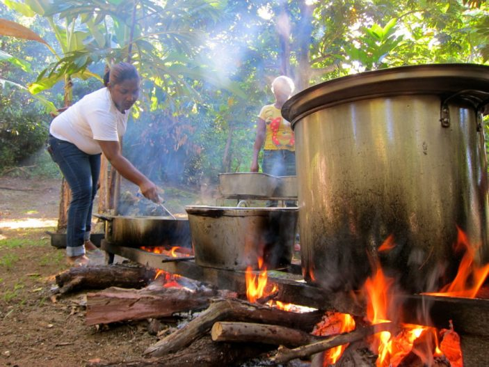 Outdoor Jamaican cooking