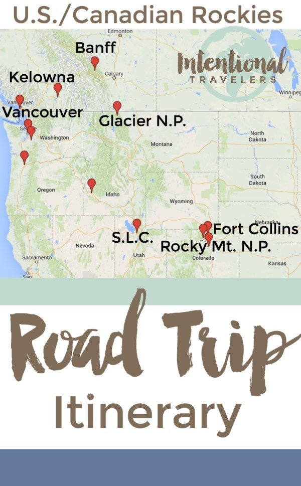 Itinerary on our one-month road trip through the U.S. and Canadian Rocky Mountain range - Banff to Glaicier to Rocky Mt National Park | Intentional Travelers