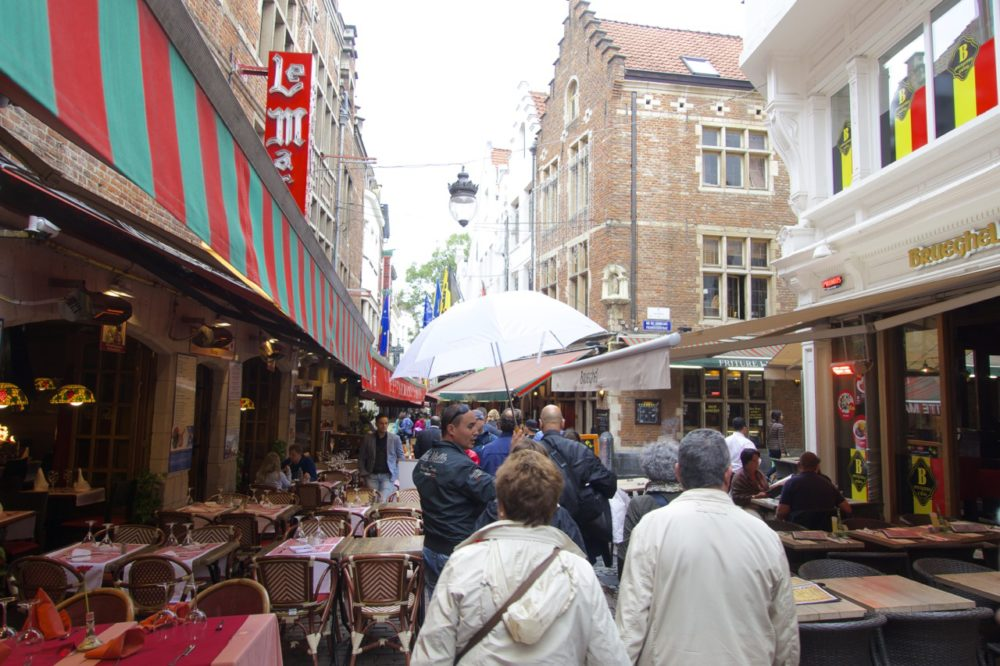 Restaurants on Rue de Bouchers | Self-Guided Walking Tour of Brussels, Belgium | Intentional Travelers