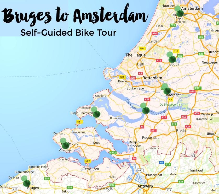 Bruges-Amsterdam-bike-tour-map