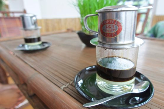 Individually brewed coffee with sweetened condensed milk