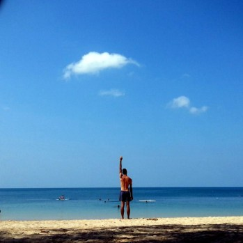 Stretching after work in Koh Lanta