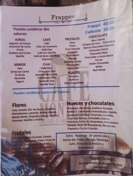 Sample of the menu
