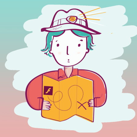 Cartoon illustration of somebody holding a map where X marks the spot.