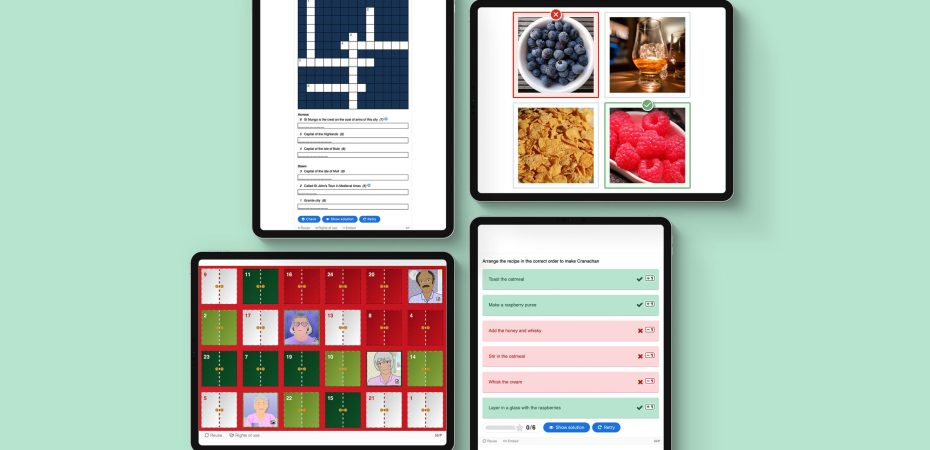 4 Apple iPad Pros with the new H5P content types displayed, including a crossword.