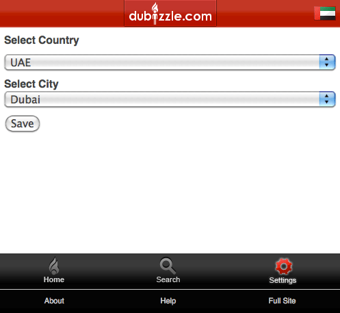 Dubizzle Mobile Website settings paeg