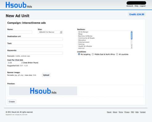 hsoub adding unit screenshot