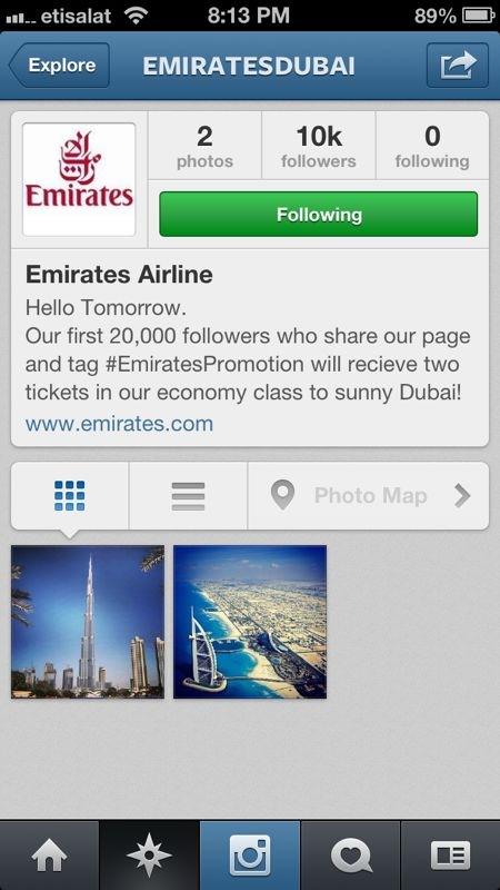 Emirates Instagram Promotion