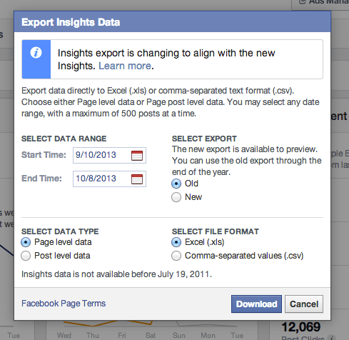 New facebook insights data export