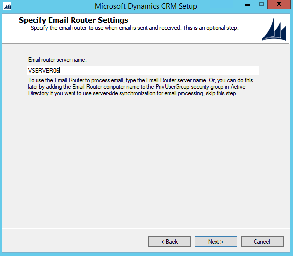 CRM 2015 Email Router Server