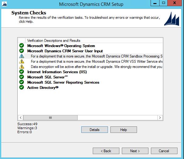 CRM 2015 Install Warnings