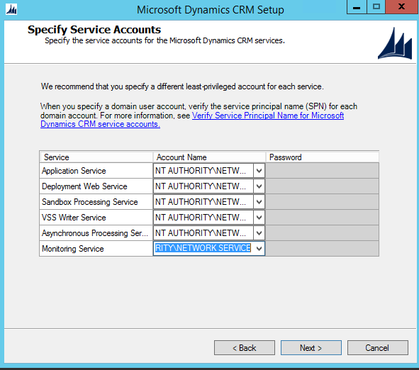 CRM 2015 Security Account