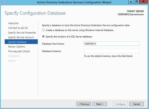 ADFS SQL Database