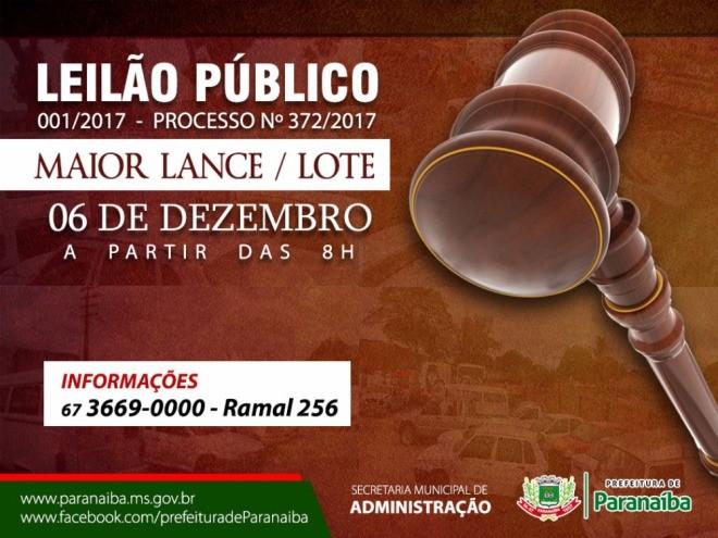 Prefeitura de Paranaíba fará leilão de veículos e material de informática