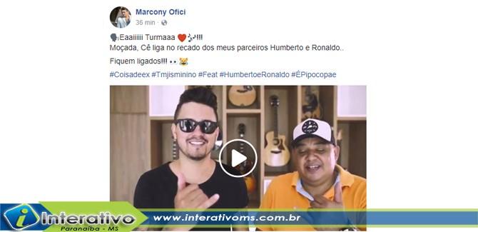 Cantor paranaibense terá participação de Humberto e Ronaldo em primeiro CD