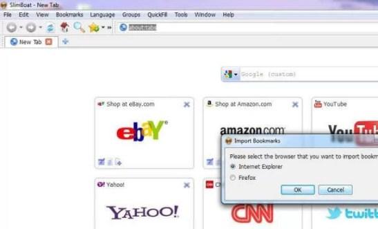 SlimBoat web tarayıcısı ekran görüntüsü