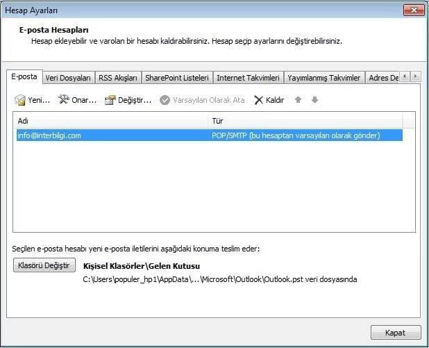 Yandex Mailleri Outlook'ta Kullanma (3/5)