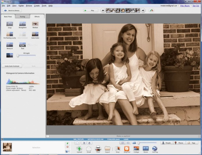 Ücretsiz Resim Düzenleme Programı; Picasa