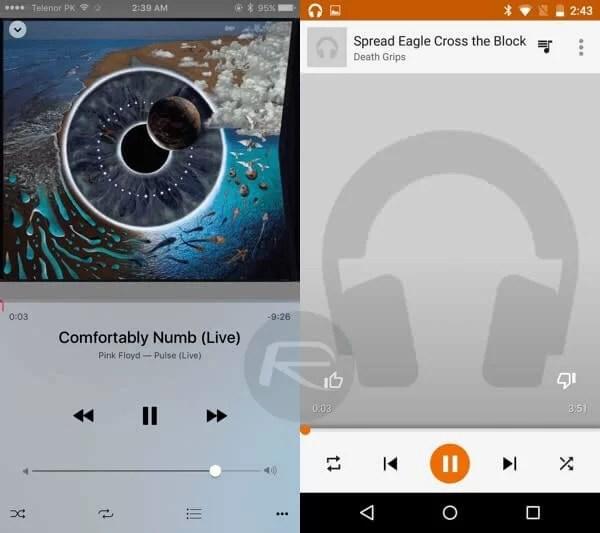 iOS 9 – Android M karşılaştırması Müzik