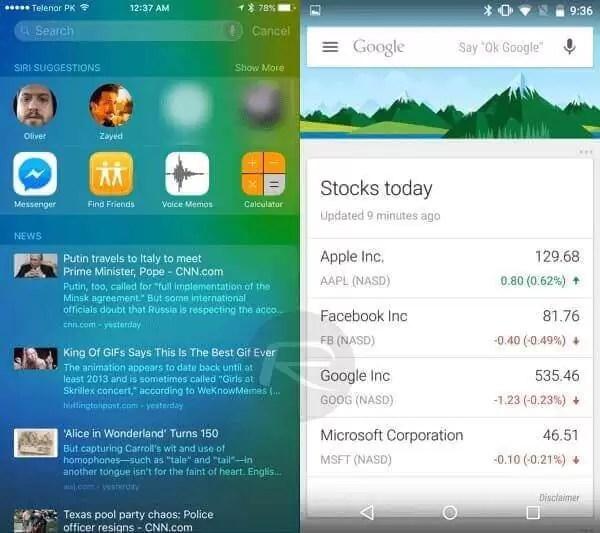iOS 9 – Android M karşılaştırması Arama Sayfaları