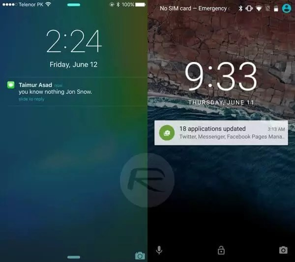 iOS 9 - Android M karşılaştırması kilit ekranı uyarılar