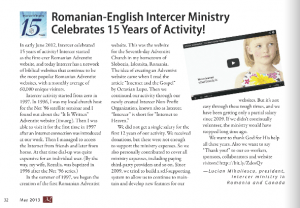 Articol Intercer in Curierul Adventist Canadian.