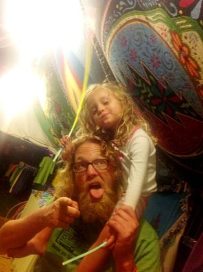 Little Hippie at Gathering of the Vibes Sandleman and mini-sandleman