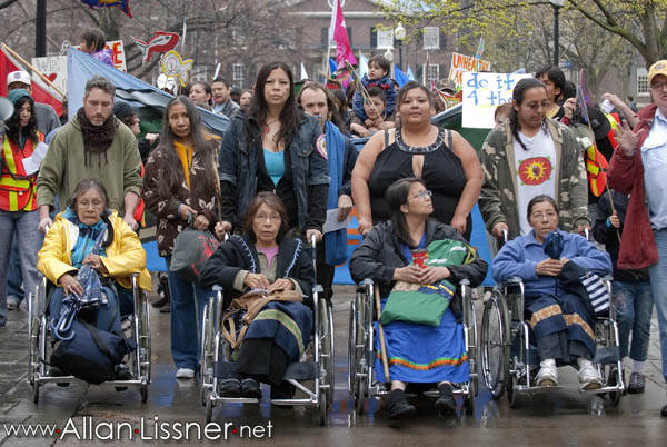 Members of Grassy Narrows  lead a march on World Health Day (2010)  to the seat of the Provincial Government at Queen's Park. Photo Credit: allan.lissner.net