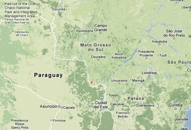 Location of the Guarani community's territory in Mato Grosso do Sul, Brazil