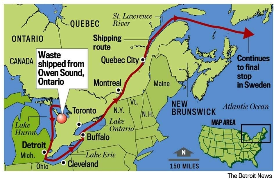 "Detroit News graphic of planned shipment route from Bruce nuclear power plant, Canada to Studsvik, Sweden radioactive waste ""recycling"" center."