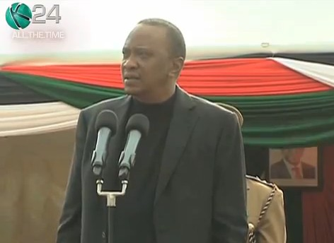 Kenya President Uhuru Kenyatta speaking to  residents of Narasha village in Naivasha, Rift Valley Province, Kenya